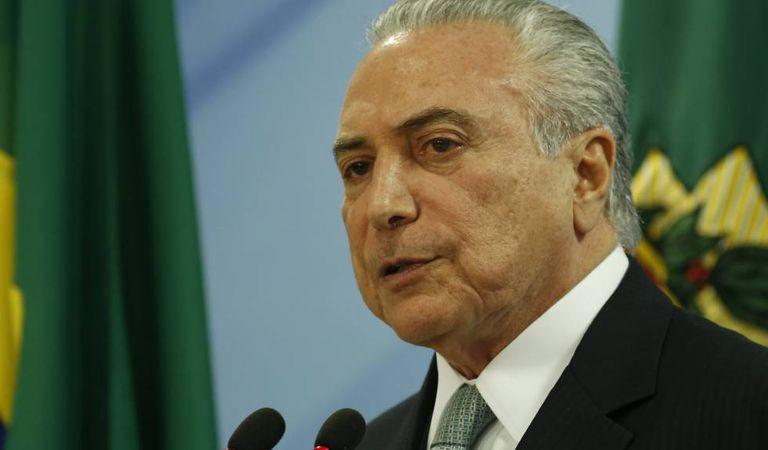 O presidente Temer, durante a leitura do seu pronunciamento no Planalto.