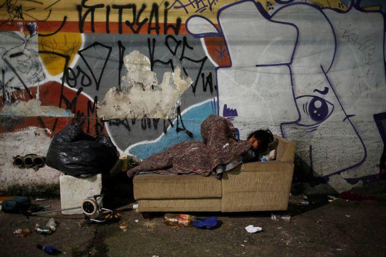 Morador de rua em São Paulo nesta semana.