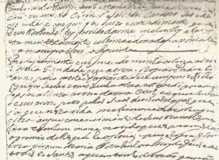 Parte do testamento de dona Maria da Cruz.