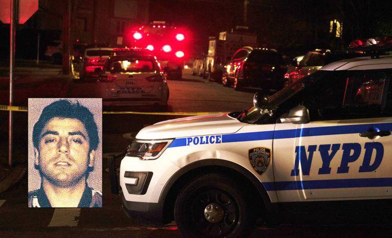 Um carro de polícia junto ao local onde o chefe mafioso Frank Cali foi morto, nesta quarta-feira, em Nova York. Na imagem pequena, Cali fotografado em 2008, após ser detido pela polícia.