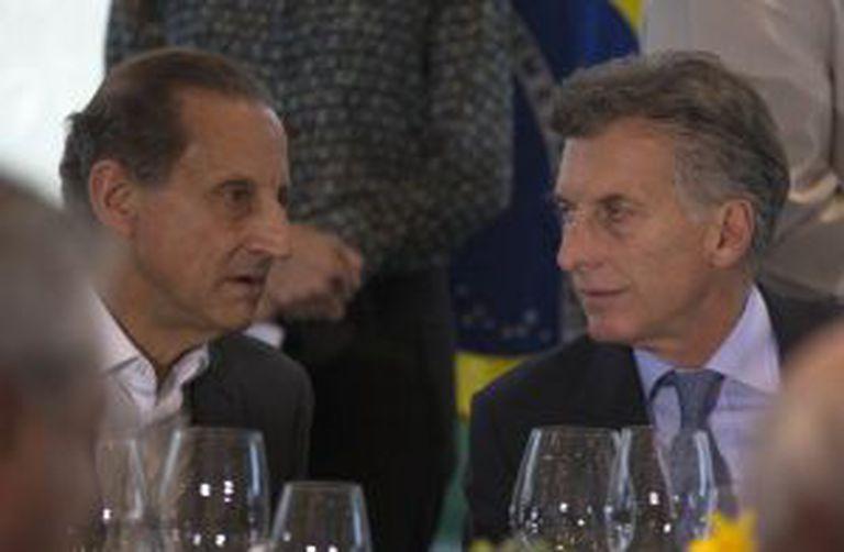 Paulo Skaf e Mauricio Macri em almoço na FIESP