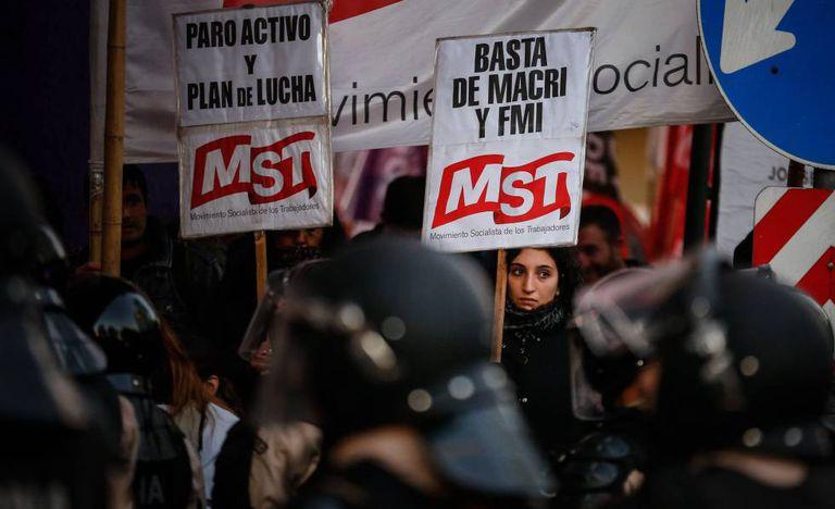 Protesto contra o Governo de Mauricio Macri no centro de Buenos Aires