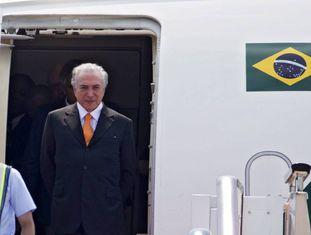 O presidente brasileiro, Michel Temer, no aeroporto internacional de Xiaoshan em Hangzhou (China)