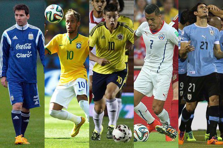 Messi, Neymar, James, Alexis e Cavani, estrelas da Copa América.