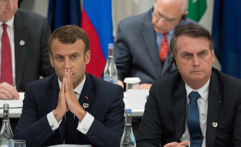 O presidente francês, Emmanuel Macron, e o presidente do Brasil, Jair Bolsonaro durante a cimeira do G20 em Osaka em junho passado.