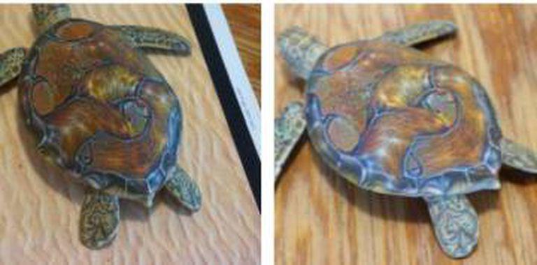 Tartarugas identificadas como rifles pelo sistema de visão artificial.