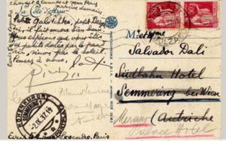 Postal que leva a assinatura de Picasso.