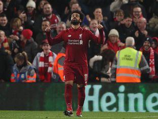Salah comemora o único gol da partida em Anfield Road.
