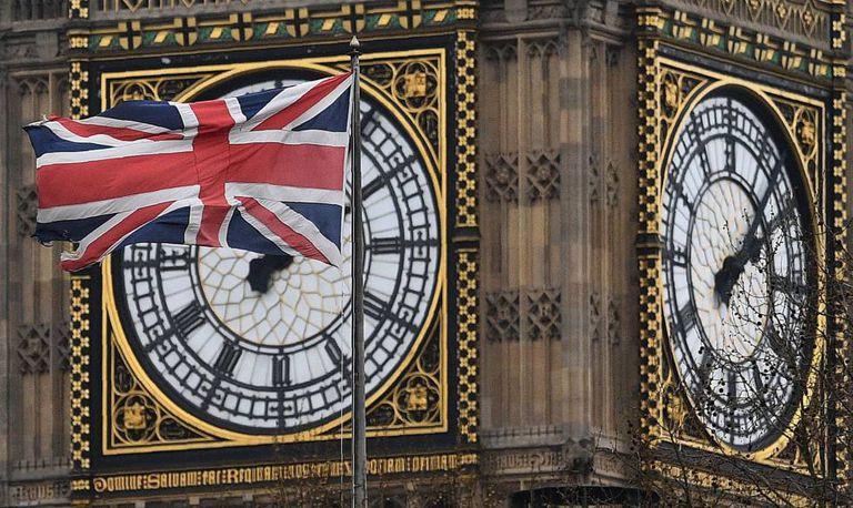A bandeira de Reino Unido em uma imagem da passada segunda-feira.