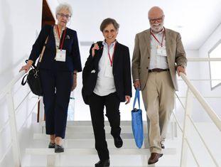 Soledad Gallego-Díaz, Carmen Aristegui e Rosental Calmon Alves, no Festival Gabo.