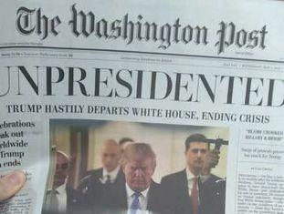 Capa da edição falsa do jornal 'The Washington Post.'