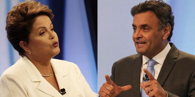 Dilma e Aécio no debate deste domingo.