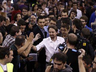 Pablo Iglesias na reunião do Podemos.