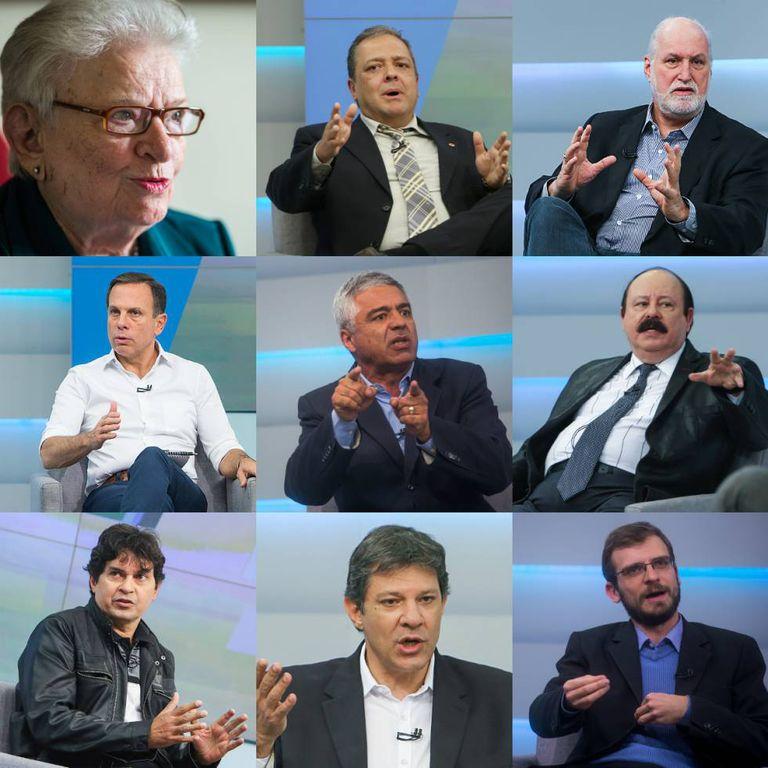Da esquerda para a direita: Luiza Erundina (PSOL), João Bico (PSDC), Ricardo Young (Rede), João Doria (PSDB), Major Olímpio (SD), Levy Fidelix (PRTB), Altino Prazeres (PSTU), Fernando Haddad (PT), Henrique Áreas (PCO).