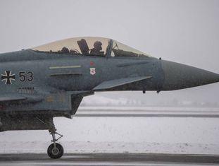 Um avião Eurofighter da Força Aérea alemã em Amari (Estônia), em fevereiro passado
