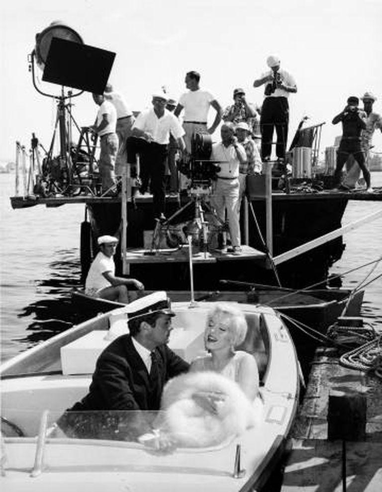 Tony Curtis e Marilyn Monroe, na rodagem em San Diego.