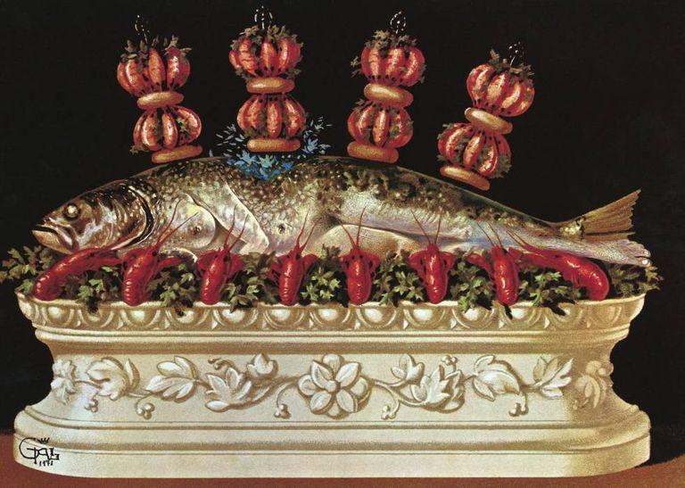 Ilustração de uma das receitas do Salvador Dali, no livro 'Les Dîners de Gala'.