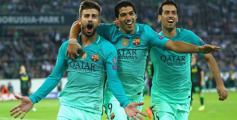 Comemoração do gol de Piqué, da virada.