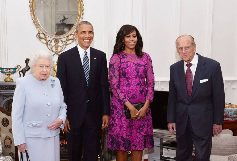 A Rainha Elizabeth II recebeu Barack e Michele Obama no castelo de Windson, com seu marido, o príncipe Philip, Duque de Edinburgh.