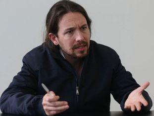O secretário-geral do Podemos, Pablo Iglesias, no sábado, durante a entrevista em Sevilha.
