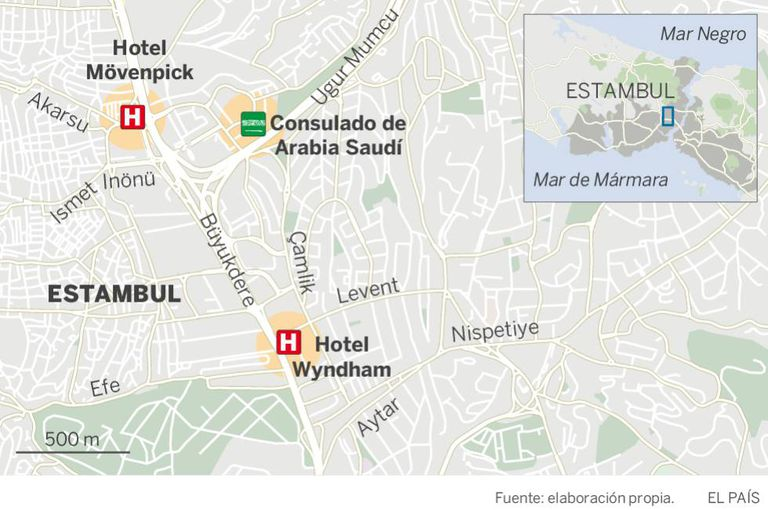 Localização do consulado e de dois hotéis próximos onde os sauditas supostamente enviados por Riad se alojaram.