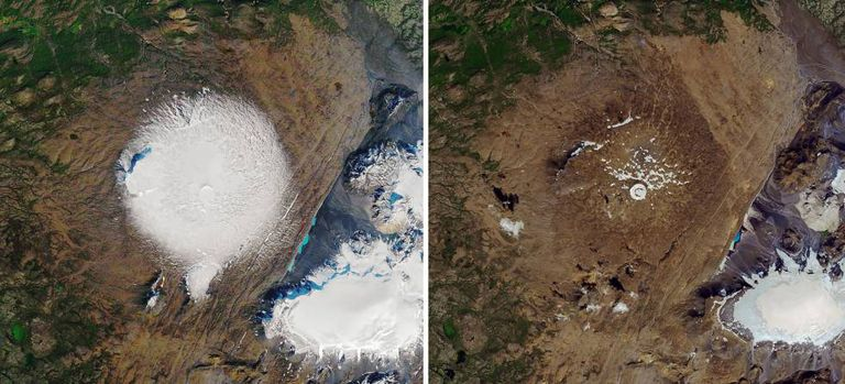 Imagens de satélite da geleira Ok em 1986 (esquerda) e em primeiro de agosto.