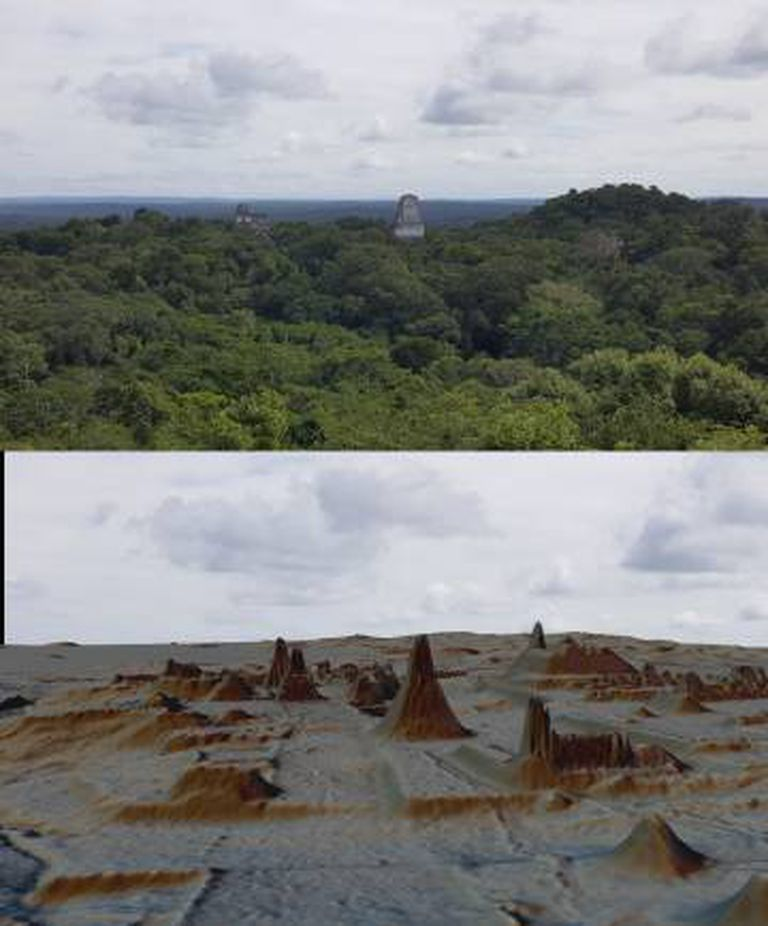 Vista de Tikal, acima coberta pela floresta, abaixo descoberta pelo Lidar.