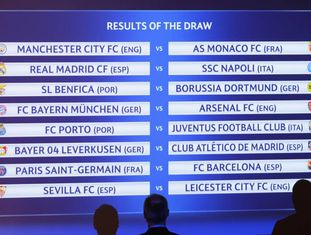 Painel mostra o resultado do sorteio das oitavas de final da Liga dos Campeões, divulgado nesta segunda-feira em Nyon, na Suíça.