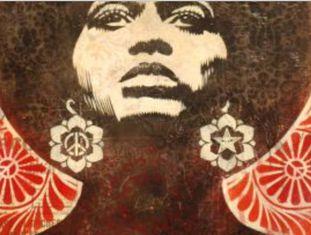 Detalhe de cartaz desenhado por Shepard Fairey a partir de uma fotografia de Angela Davis.