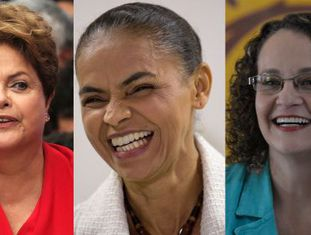 Dilma Rousseff (à esq.), Marina Silva e Luciana Genro.