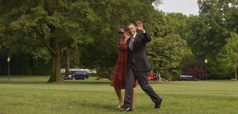 Barack Obama junto a sua esposa Michelle, nesta segunda-feira em Washington.