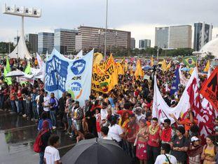 Manifestantes em Brasília.
