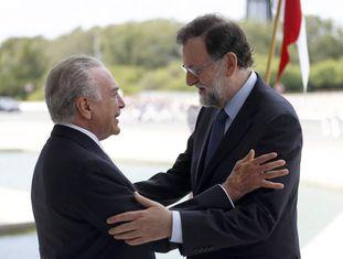 Michel Temer e Mariano Rajoy, nesta segunda.