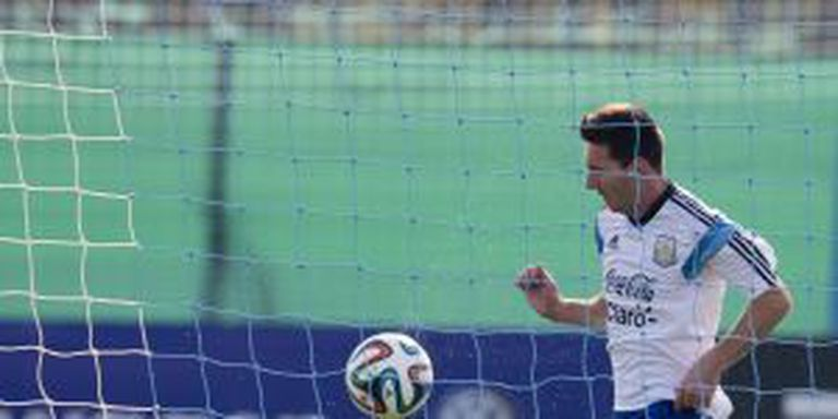 Messi, no treino da Argentina.