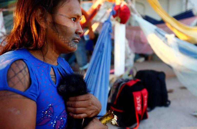 Indígena na ocupação de São Manoel.