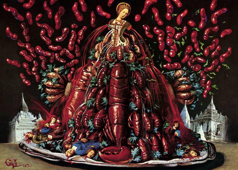 Ilustração de Dalí do prato 'Arbusto de lagostas com ervas vikings'.