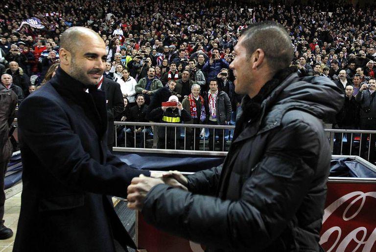 Guardiola e Simeone, em partida de 2012.