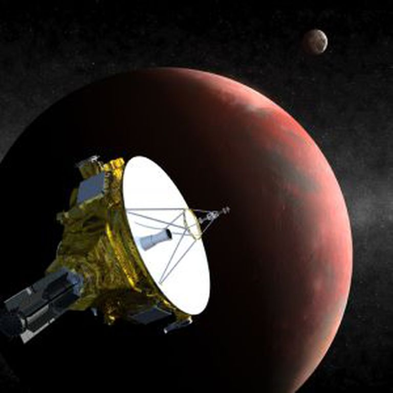 Ilustração da nave espacial `New Horizons´ passando por Plutão.
