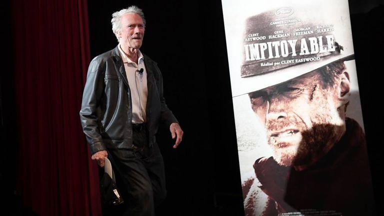 Clint Eastwood antes da sua palestra deste domingo no festival de Cannes.