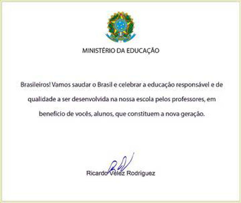 Nova versão da carta do ministro a ser lida nas escolas.