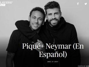 Piqué e Neymar, durante a entrevista do zagueiro.