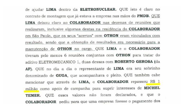 """Imagem do """"anexo-bomba"""" da delação de José Antunes Sobrinho, sócio da Engevix, de 2016"""