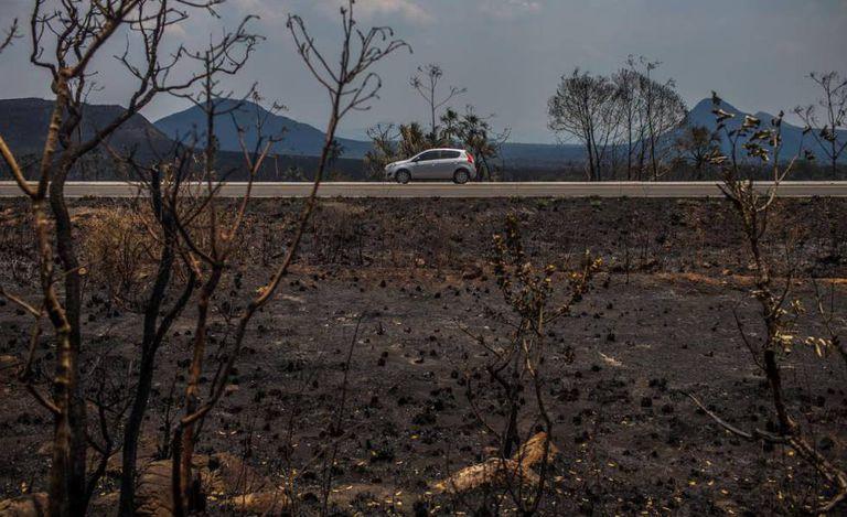 Paisagem destruída pelo fogo na Chapada dos Veadeiros.