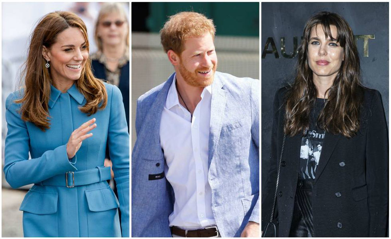 Da esquerda para a direita, Kate Middleton, o príncipe Harry da Inglaterra e Carlota Casiraghi.