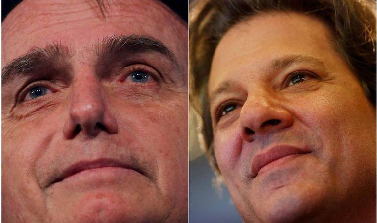 Os candidatos Jair Bolsonaro e Fernando Haddad.